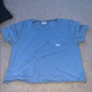 pink blue shirt